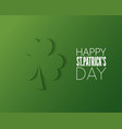patricks day cut paper logo on green background vector image