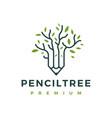 pencil tree leaf logo icon vector image