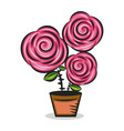 pink rose flower with green leaves vector image