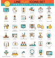 Project planning flat line icon set Modern vector image vector image