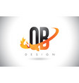 qb q b letter logo with fire flames design and vector image vector image