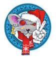 rat in santas hat vector image