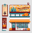 restaurant halloween cafe set shop front design vector image vector image