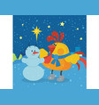 rooster sculpts snowman at christmas eve night vector image