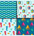 seamless patterns with nautical elements vector image vector image