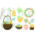 set cute easter design elements bunny chicks vector image vector image