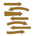 set of different wooden arrows vector image