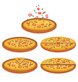 set tasty pizza pizza sliced vector image vector image