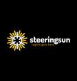 ship steering sun logo ship wheel logo design vector image