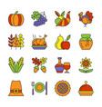 thanksgiving day line icon set editable stroke vector image