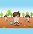 three white shirt volunteer planting tree vector image