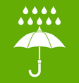 umbrella and rain icon green vector image vector image
