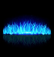 wall of blue fire with weak reflection on black vector image vector image