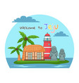 welcome to jeju island in south korea poster vector image vector image