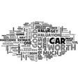 what is my car worth text word cloud concept vector image vector image