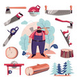 woodcutter lumberjack and tools vector image vector image