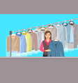 young girl at reception of dry cleaning shop vector image