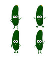 set with cartoon cucumbers vector image