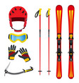 equipment for skiing snowboarding mountain hiking vector image