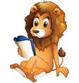 A lion reading a book vector image vector image