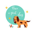 bright card with cute spaniel and text vector image vector image