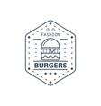burgers badge design line art vector image vector image