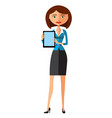 business woman showing something important vector image