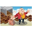 Businessman takes bag with goods from warehouse vector image