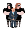 businessman with wooman bodyguards vip protection vector image vector image
