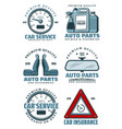 car service station and auto parts store icons vector image vector image