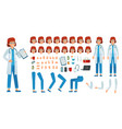 cartoon female doctor creation kit medic woman vector image vector image