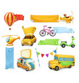 cartoon transportation cars and airplanes vector image vector image