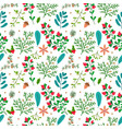 christmas seamless pattern with cute winter plants vector image vector image
