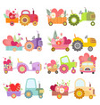 collection cute tractors with carts full of vector image vector image