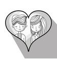 couple lover inside heart design vector image vector image