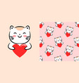 cute design with kawaii cat hug heart love vector image