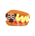 cute funny pug dog character inside hot dog with vector image vector image