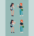 cute girls taking pictures each other vector image