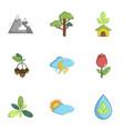 ecology nature icons set cartoon style vector image