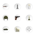 Equipment for war icons set flat style vector image vector image