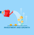 flat banner investment and growth watering vector image vector image