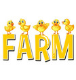 font design for word farm vector image vector image
