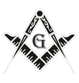 Freemasonry emblem the masonic square and compass vector image vector image