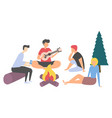 friend with guitar people leisure picnic vector image vector image