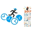 Gentleman Running Over Clocks Icon With 2017 Year vector image vector image
