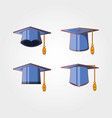 graduation card with hats icon vector image
