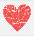 grunge red heart transparent vector image
