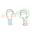 hand-drawn cartoon of with bad breath talking to vector image vector image