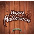 Happy Halloween with spider on wood background vector image vector image