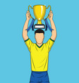 happy sport player holding gold trophy comic style vector image vector image